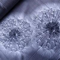 Бязь с крупными белыми одуванчиками на сером, ш. 220 см, фото 1