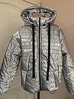 Дитяча світловідбиваюча куртка літерами для дівчинки 6-14 років, фото 1