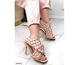 Босоножки на высоком каблуке плетеные, фото 3