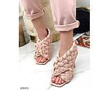 Босоножки на высоком каблуке плетеные, фото 4