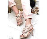 Босоножки на высоком каблуке плетеные, фото 5
