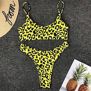 Купальник роздільний леопардовий жовтий з топом, фото 2