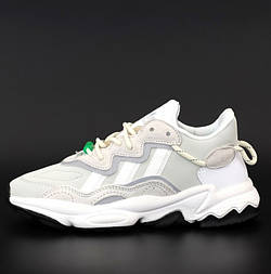 Женские кроссовки Adidas Ozweego светло серые рефлективные весна осень демисезонные. Фото в живую. Реплика