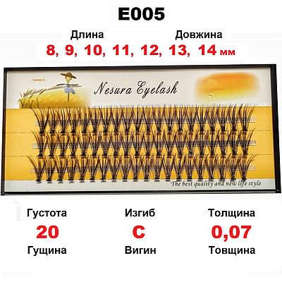 ОПТ от 3 ед. Nesura Eyelash 20D, 8-14 мм, изгиб C, 0,07, 60 пучков Несура накладные пучковые ресницы
