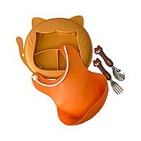 """Набор для кормления """"Кот"""" оранжевый"""