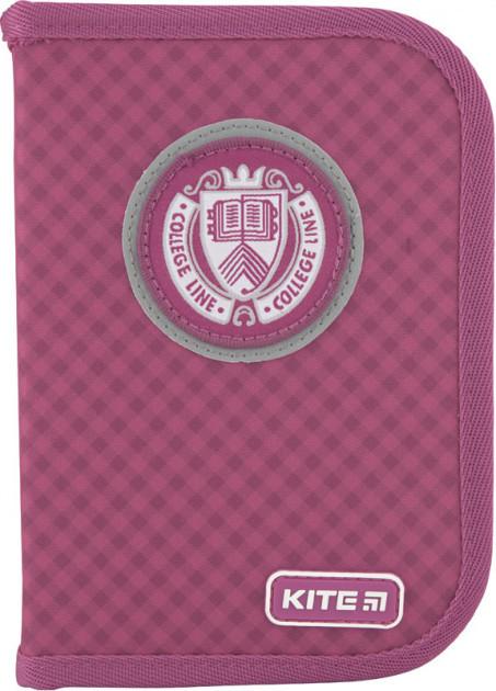 Пенал без наполнения Kite Education College line 1 отделение 2 отворота Розовый (K20-622-3)