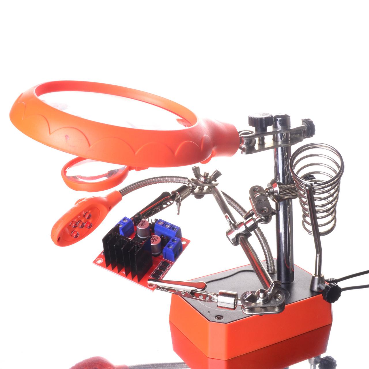 Третья рука для пайки TE-800 Orange (MG16129-C) держатель плат, лупа 90мм, Led подсветка
