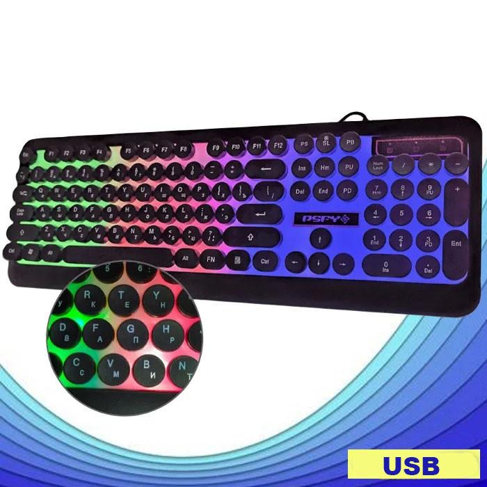 Дротова клавіатура з підсвічуванням веселка Retro Classic USB Promotech M300