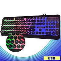 Дротова клавіатура з підсвічуванням веселка Retro Classic USB Promotech M300, фото 1