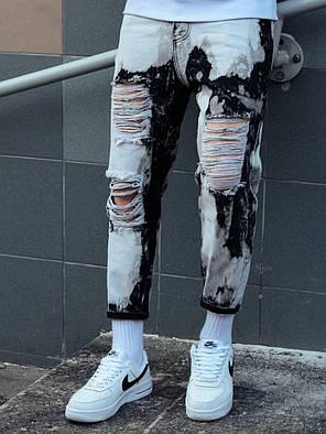 Мужские джинсы бело-черного цвета рваные, фото 2