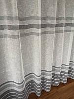 Тюль лен полоса с серым