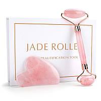 Ролик для лица и скребок Гуаша из розового кварца JADE ROLLER
