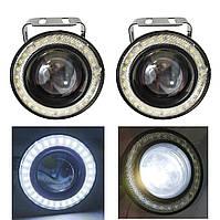 LED фары-линзы! Светящийся ободок габарит + фара с оптической линзой 20W. 7000K. R500