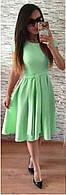 Коктейльное летнее платье мятный цвет. Летнее салатовое платье c пышной юбкой
