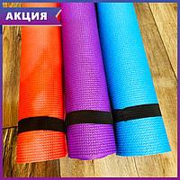 Коврик для фитнеса и йоги (180х60см, толщина 5 мм)  красный, фото 1