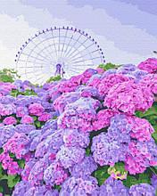 Картина по номерам Brushme Вид на гортензию GX32307 Колесо обозрения Пейзаж Природа цветы