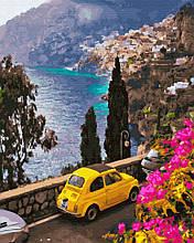 Картина по номерам Brushme Провинция в Италии GX32301 Желтое авто Пейзаж Природа Вода горы лодка море