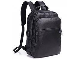 Чоловічий шкіряний рюкзак Tiding Bag A25 Чорний для ноутбука