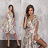 Летнее пудровое женское платье на запах с воланами ТК/-61242
