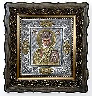 Икона Николай Чудотворец  Мирликийский ручной работы, серебро, позолота