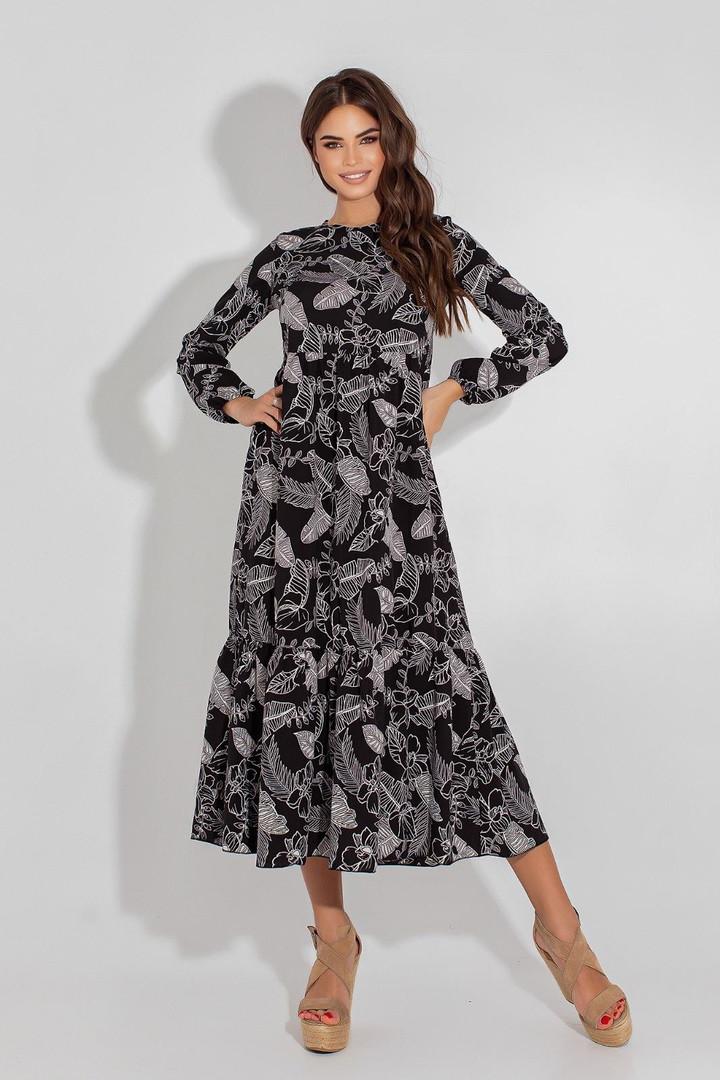 Женское платье, евро - софт, р-р 42; 44; 46; 48 (чёрный)