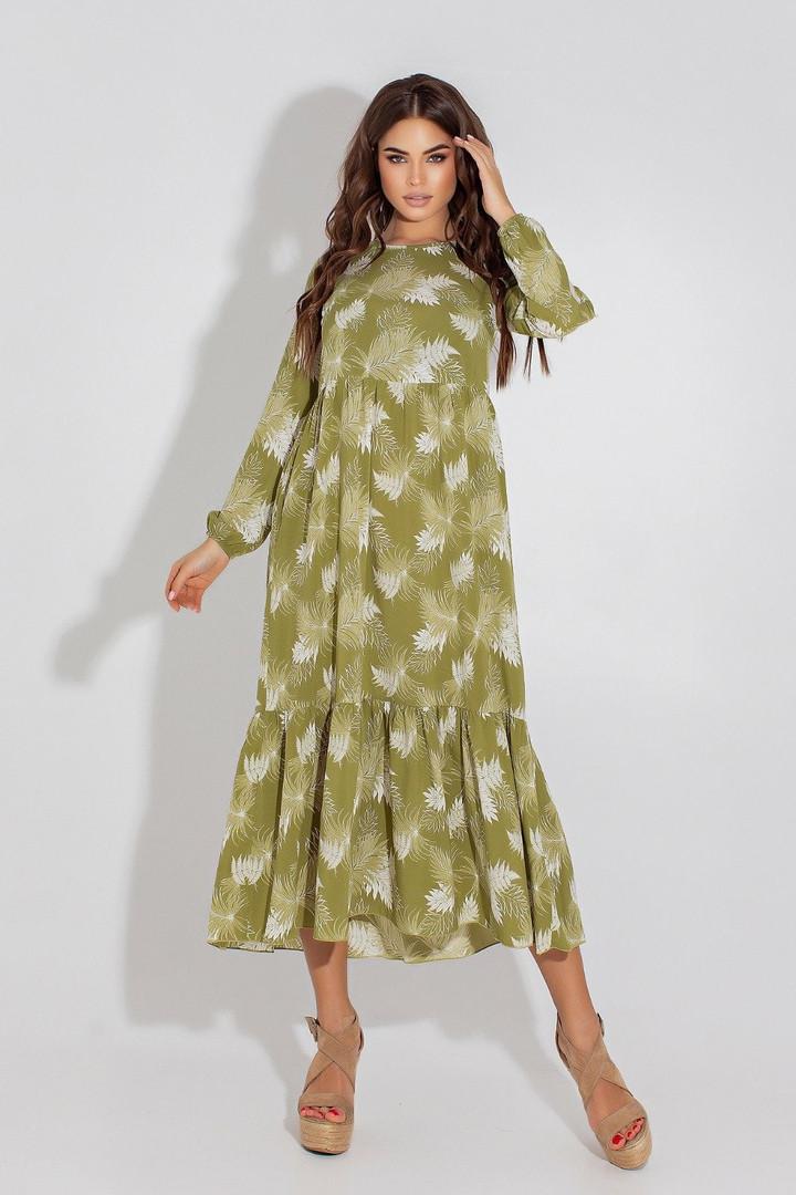 Женское платье, евро - софт, р-р 42; 44; 46; 48 (оливковый)
