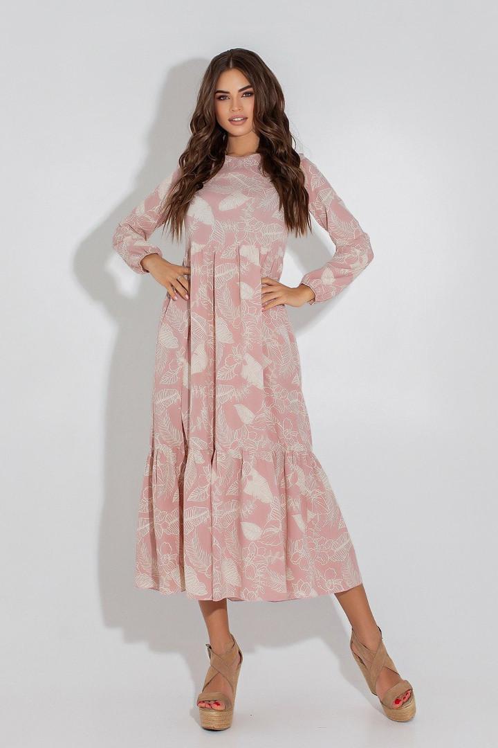 Женское платье, евро - софт, р-р 42; 44; 46; 48 (пудровый)