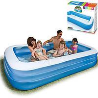 Детский надувной бассейн Intex 305x183x56 см , большой прямоугольный для всей семьи 58484
