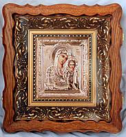 Икона Матерь Божья Казанская ручной работы, серебро, позолота