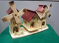 Тройная деревянная копилка Дом с двумя мельницами - подарок на деревянную свадьбу