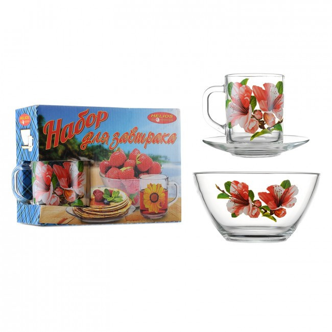Набор для завтрака 3 предмета( декор цветы) ОСЗ