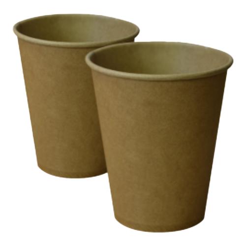 Бумажные стаканчики 250 (280) мл Евро, однослойные, крафт, 50 шт./рукав, 1250 шт/ящ (арт.0065а)