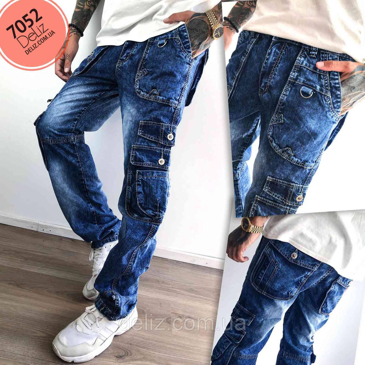 Чоловічі молодіжні джинси Vigoocc 7052 карго з кишенями. Розмір 30