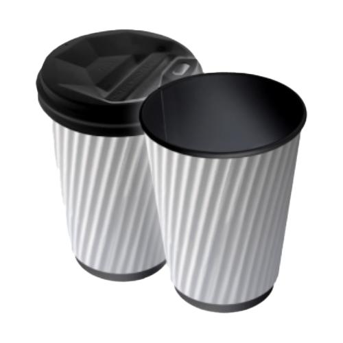Бумажные стаканы 250 (280) мл Евро, Гофра, белые, внутри чёрные, 25 шт./рукав, 625 шт/ящ (арт 0067а)