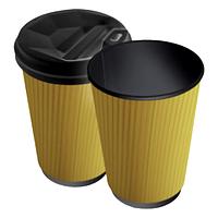 Паперові стакани 250 (280) мл Євро, Гофро, двошаровий, чорний зсередини, жовтий зовні, 25 шт./рукав, 625 шт/ящ (арт 0068а)