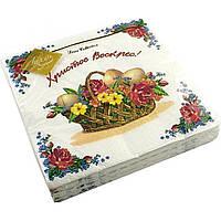 """Серветки столові ТМ """"Luxy"""" 3-х шарові (20шт) Квітковий кошик(15)"""
