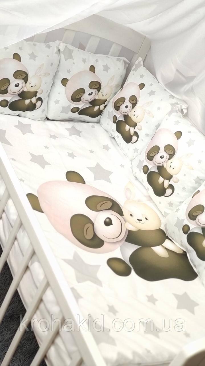 """Набір постільної білизни дитяче ліжечко/ манеж """"Панда"""" - Бортики в ліжечко / Захист в дитяче ліжечко"""