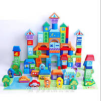 Деревянный конструктор. Развивающие строительные блоки. Город. 100 элементов