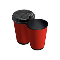 Бумажные стаканчики 250(280) мл Евро, ДаблВол, красные, чёрные внутри, 25 шт./рук, 625 шт/ящ (арт. 0080а)