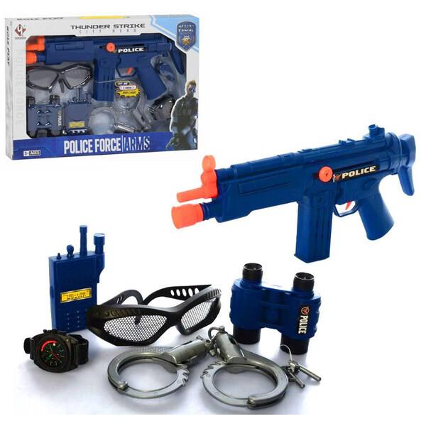 Набор полицейского с наручниками автоматом биноклем рацией и очками детский для мальчиков от 3 лет (57371)