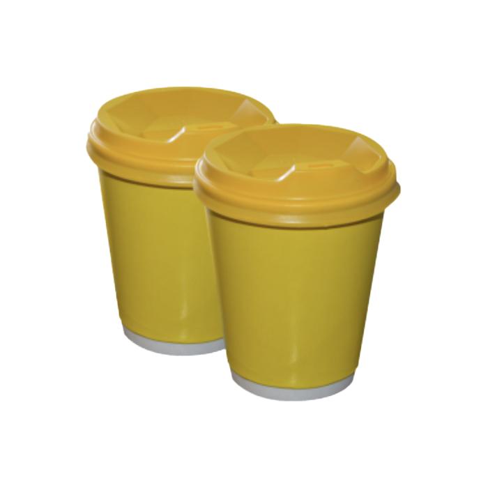 Бумажные стаканчики 250(280) мл Евро, ДаблВол, жёлтые, белые внутри, 25 шт./рук, 625 шт/ящ (арт.0084а)
