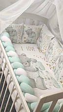 """Набір постільної білизни дитячу кроватку з косичкою """"Ведмедик""""- Бортики в ліжечко / захист в дитяче ліжечко, фото 3"""