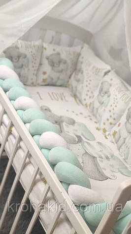 """Набір постільної білизни дитячу кроватку з косичкою """"Ведмедик""""- Бортики в ліжечко / захист в дитяче ліжечко, фото 2"""