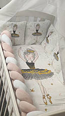 """Набір постільної білизни дитячу кроватку з косичкою """"Балерина""""- Бортики в ліжечко / захист в дитяче ліжечко, фото 3"""