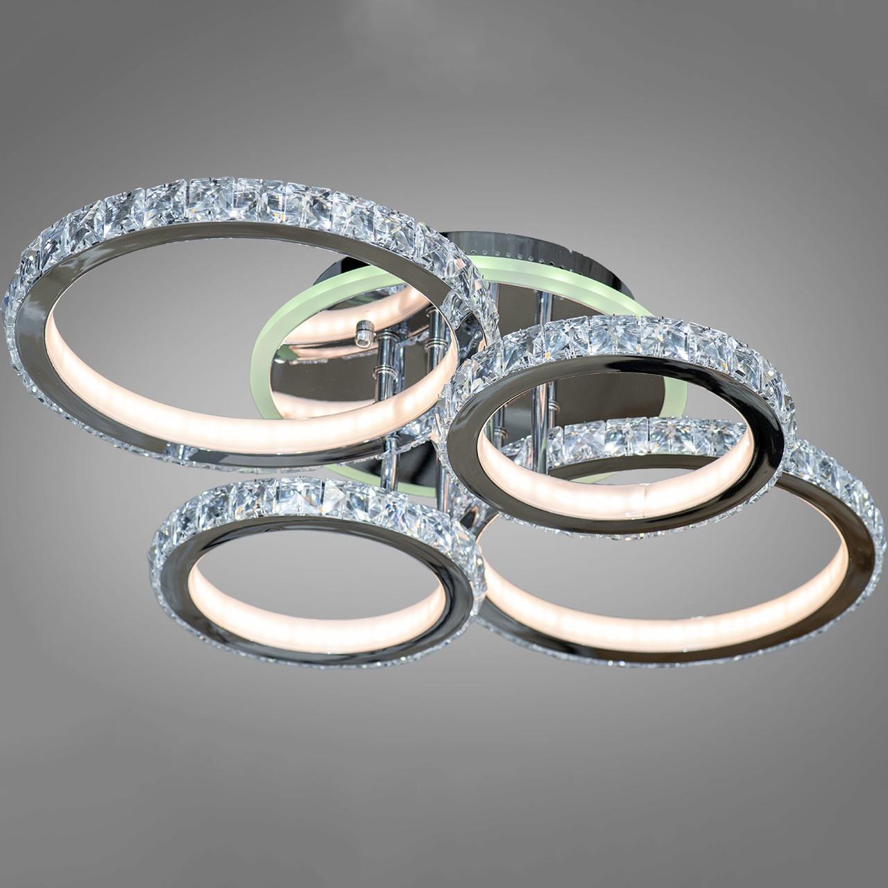 Хромована LED люстра 140 Вт з кришталевим обрамленням і підсвічуванням підстави 7 кольорів D-S9417/4 LED RGB