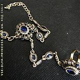 Браслет і ланцюжок з кільцем слейв під античне золото з темно-синіми каменями, фото 3