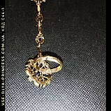 Браслет і ланцюжок з кільцем слейв під античне золото з темно-синіми каменями, фото 6