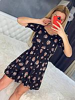 Женское летнее платье в цветочный принт с коротким рукавом