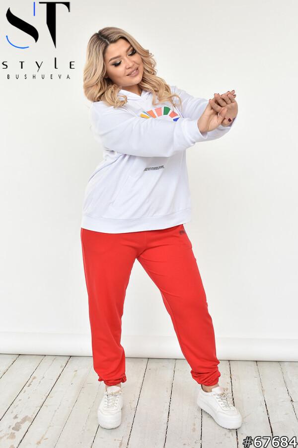Яскравий спортивний костюм великого розміру з барвистим принтом Білий-Червоний, Двунитка, р-р