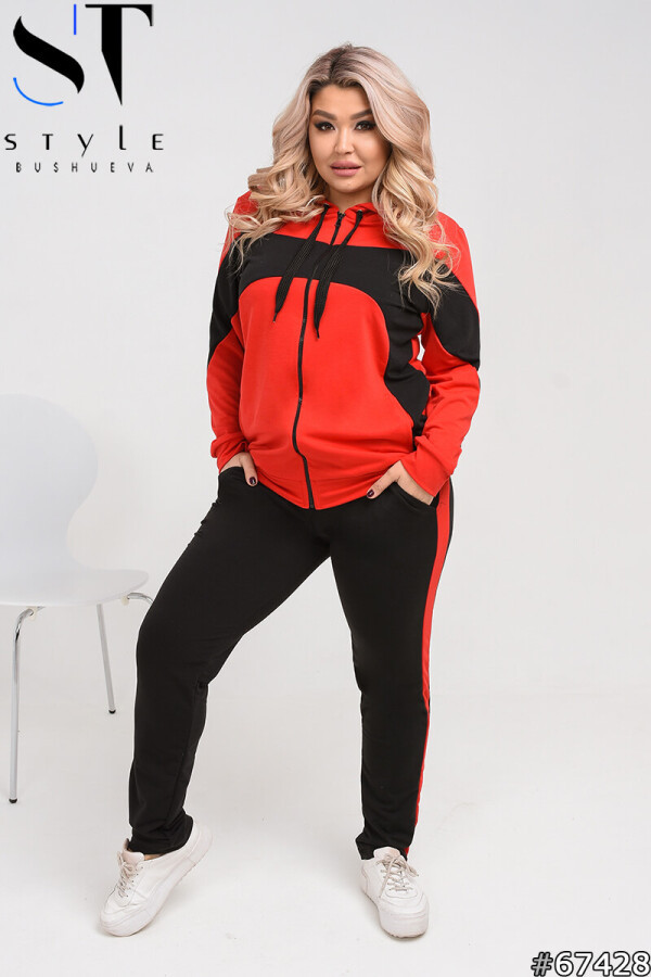 Двухцветный спортивный костюм большого размера с кофтой на молнии красный-черный, Турецкая двунитка